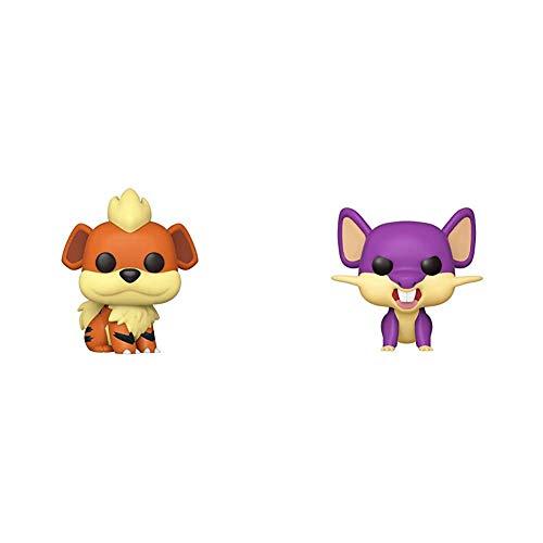 Funko Pop! Games: Pokemon - Growlithe, Multicolor & Pop! Games: Pokemon - Rattata, Multicolor