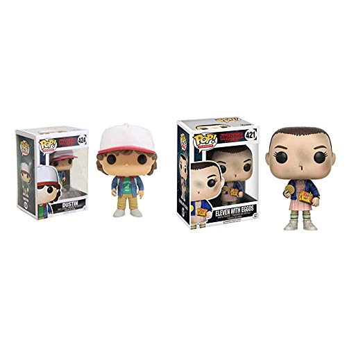 Funko POP Television Stranger Things Dustin with Compass Toy Figure & Pop Stranger Things Eleven with Eggos Vinyl Figure , Styles May Vary - with/Without Blonde Wig