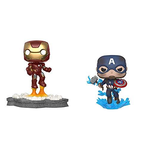 Funko Pop! Deluxe, Marvel: Avengers Assemble Series - Iron Man, Amazon Exclusive, Figure 1 of 6 & Pop! Marvel: Avengers Endgame - Captain America with Broken Shield & Mjoinir,Multicolor,3.75 inches