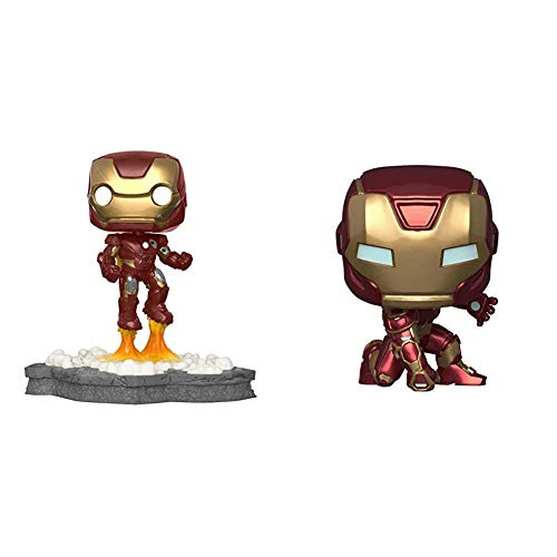 Funko Pop! Deluxe, Marvel: Avengers Assemble Series - Iron Man, Amazon Exclusive, Figure 1 of 6 & Pop! Marvel: Avengers Game - Iron Man (Stark Tech Suit), Multicolor