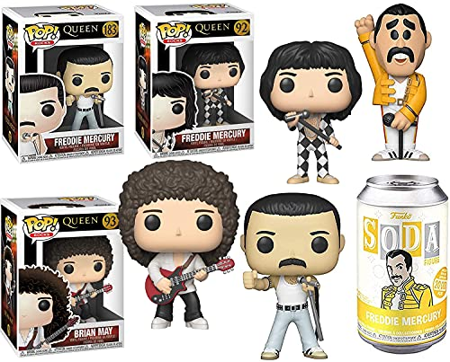 A Kind of Magic Figure Freddie Mercury in Tin Soda Can Bundled with Queen Star Pop! Vinyl Radio Ga Freddy Singer + Brian May Rocks Classic Set Collectible 4 Items