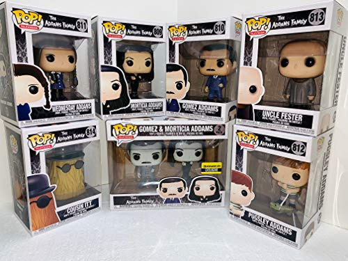 Addams Family Pop Set - Gomez - Morticia - It - Pugsley - Wednesday - Uncle Fester with Gomez and Morticia 2pc Black and White Pop Bundle