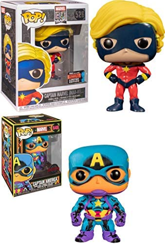All The Best Captains- Funko Pop! Figure Bundle: Marvel Pop! Captain Marvel Fall 2019 Convention Exclusive 526 / Captain America Glow in The Dark Black Light Store Exclusive 648 (2 Pops)