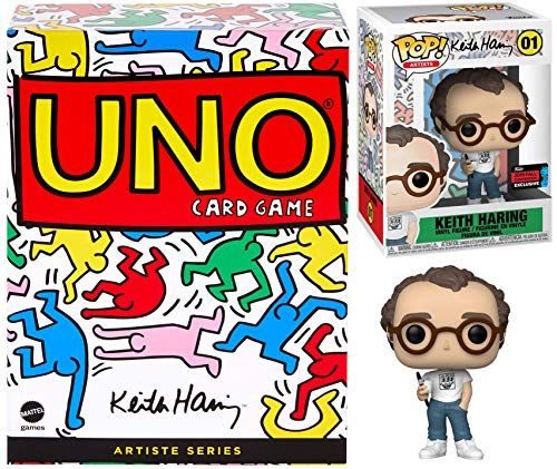 Artiste Pop! Keith Haring Art Series Figure Exclusive Bundled with Masterpiece Game Card Uno Theme Deck Graffiti Artist 2 Items