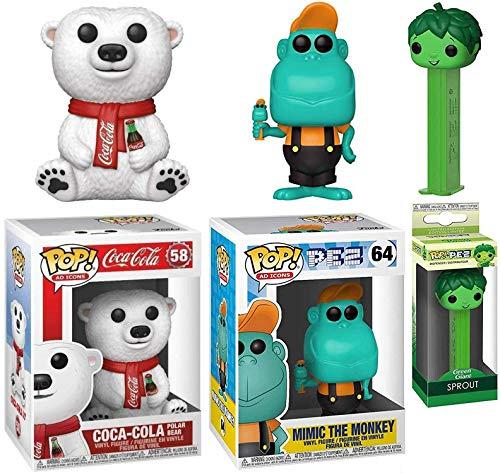 Bear Icon Retro Pop! Mimic Monkey Figure Ad Icon Bundled with + Sprout Green Giant Pez Head + Vinyl Coca-Cola Polar Mascot 3 Items