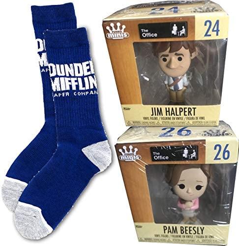 Beasley Minis The Office Figure Halpert Vinyl TV Show Collectible Bundled with Jim & Pam NBC Dunder-Mifflin Logo Socks 3-Items
