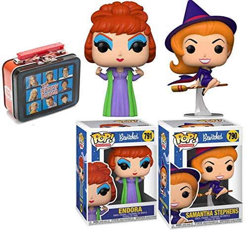 Bewitching Retro Land TV Show Pop! Figure Bundled with Bewitched Star Samantha Stephens Character +Endora + Mini Replica Classic Television Tin 3 Items
