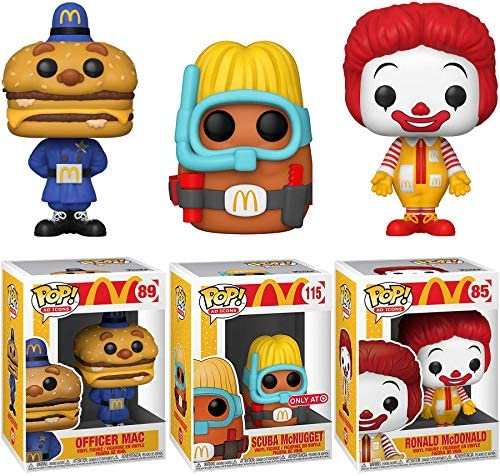 Big Mac Figure McDonalds Pop! Exclusive Nugget Bundled with Ad Icons Character Chicken Scuba McNugget + Ronald 3 Items
