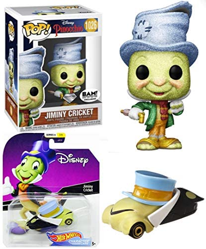 Conscious J. Crick Diamond Pinocchio Figure Exclusive Pop! Jiminy Cricket Bundled with Character Car Die-Cast 2 Items