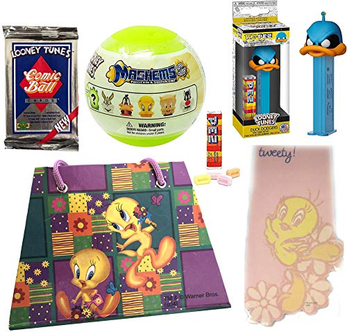 Dodger Toons Duck Dodgers 21st 1/2 Looney Pop! Figure Head Bundled with Tweety Bird Memo Pad & Notebook + Mini Blind Capsule Character & Bugs Bunny Comicball Trading Pack + Pez 5 Items