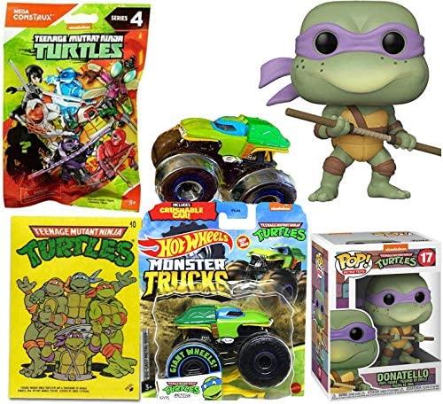Don Retro Toys Teenage Mutant Ninja Turtles Figure Pop! Bundled Trading Cards Cartoon Heroes + Character Donatello + TMNT Mini Figure & Monster Truck Leo 4 Items