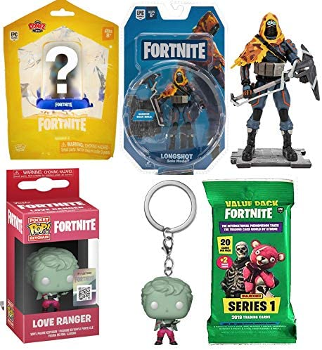 Double Hit Range Pocket Pop! Figure Fortnite Bundled with Longshot Solo Mode Action + Domez Character + Trading Card Pack 4 Items