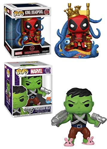 """Double Trouble: Huge 6"""" Funko Pop! Bundle - King Deadpool Deluxe 724 (Exclusive) + Professor Hulk 705 (Exclusive) 2 Big Boy Pops!"""