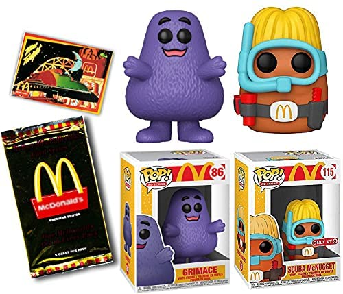 Duh! Shake Figure McDonalds Pop! Exclusive Nugget Bundled with Ad Icons Character Chicken Scuba McNugget + Purple Grimace + Trading Card Pack 3 Items