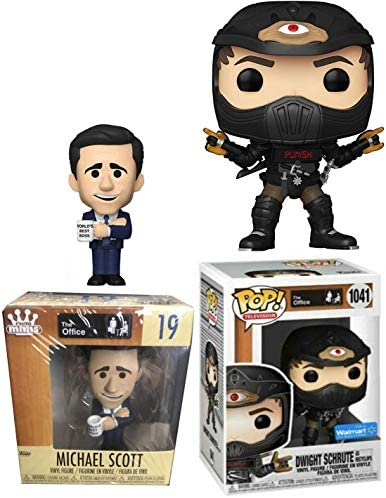 Dwight Suit Figure Character Work Earth Day The Office Pop! Vinyl Schrute Recylcops Exclusive TV Show Collectible Bundled with NBC Dunder-Mifflin Michael Scott Boss Mini 2-Items