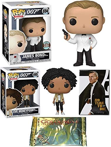 Eve James Bond Collection Pop! Figure Agent 007 Bundled with Spectre Exclusive Specialty Series + Moneypenny from Skyfall + Movie Poster Magnet No Time Die + GoldenEye Cards 4 Items