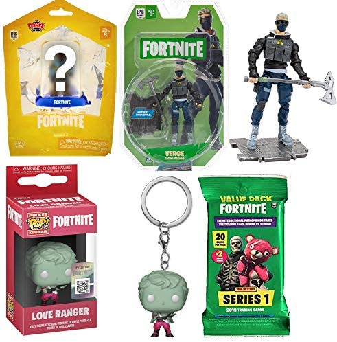 Forefront Pocket Pop! Fortnite Figure Love Ranger Bundled with Verge Solo Mode Action + Domez Character + Trading Card Pack 4 Items