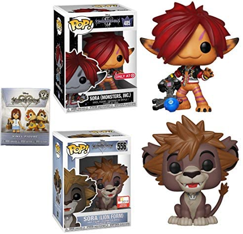 Form of Monster Kingdom Hearts Figure Pop! Bundled with Sora Minsters Inc. Exclusive + (Lion Form) E3 + Mystery Minis Figure Blind Box 3-Items Game Gear