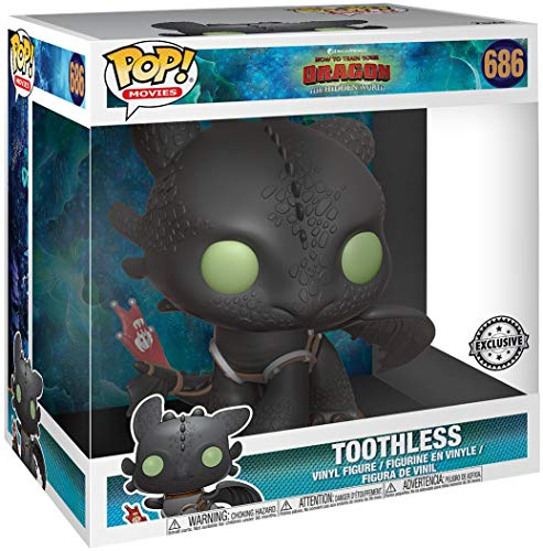 """Funko 36619 POP Movies: How to Train Your Dragon 3 - Toothless 10"""" DreamWorks Collectible Figure, Multicolour"""
