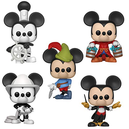 Funko Disney: POP! Mickey's 90th Anniversary Collectors Set - Steamboat Willie, Apprentice Mickey, Firefighter Mickey, Conductor Mickey, Brave Little Tailor