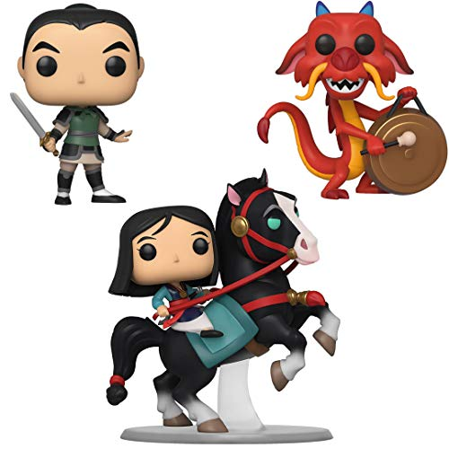 Funko Disney: POP! Mulan Collectors Set - Mulan on Khan, Mulan as Ping, Mushu with Gong