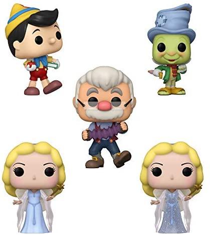 Funko Disney: POP! Pinocchio Collectors Set - School Bound Pinocchio, Street Jiminy, Blue Fairy, Geppetto
