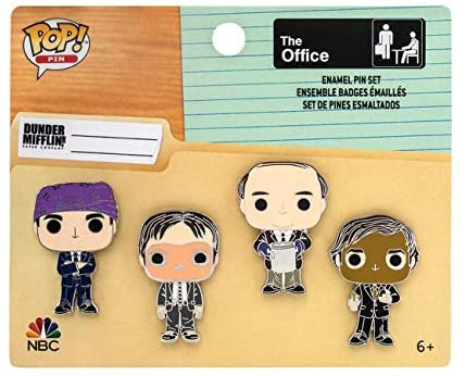 Funko Loungefly: The Office - 4 Piece Enamel Pin Set, Michael, Dwight, Jim, and Kevin, Amazon Exclusive