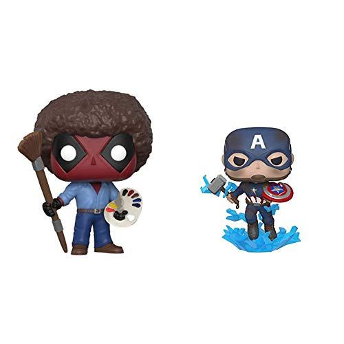 Funko POP! Marvel: Deadpool Playtime- Bob Ross & Pop! Marvel: Avengers Endgame - Captain America with Broken Shield & Mjoinir,Multicolor,3.75 inches