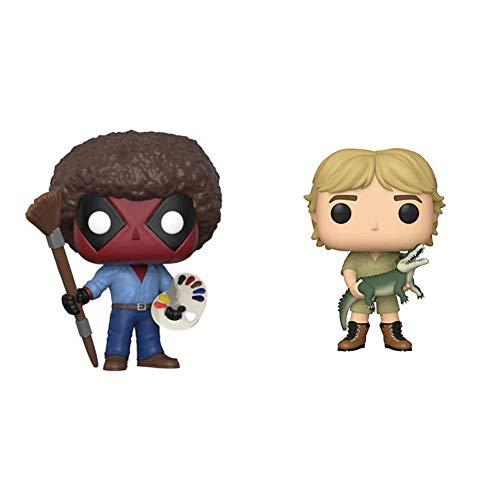 Funko POP! Marvel: Deadpool Playtime- Bob Ross & Pop! TV: Crocodile Hunter - Steve Irwin (Styles May Vary), Multicolor