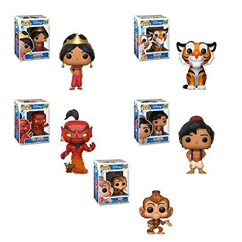 Funko Pop Aladdin - Aladdin, Princess Jasmine, Rajah, Abu, Jafar Set