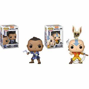 Funko Pop! Animation: Avatar - Sokka Toy, Multicolor & POP! Animation: Avatar - Aang with Momo