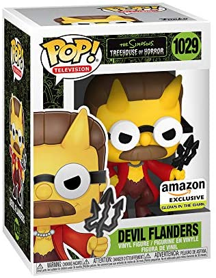Funko Pop! Animation: The Simpsons - Devil Flanders, Glow in The Dark, Amazon Exclusive, 3.75 inches