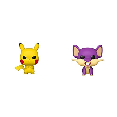 Funko Pop! Games: Pokemon - Grumpy Pikachu & Pop! Games: Pokemon - Rattata, Multicolor