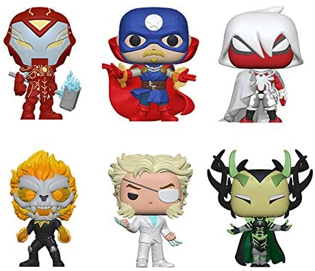Funko Pop! Marvel Infinity Warps Set of 6: Iron Hammer, Soldier Supreme, Arachknight, Ghost Panther, Diamond Patch and Madame Hel