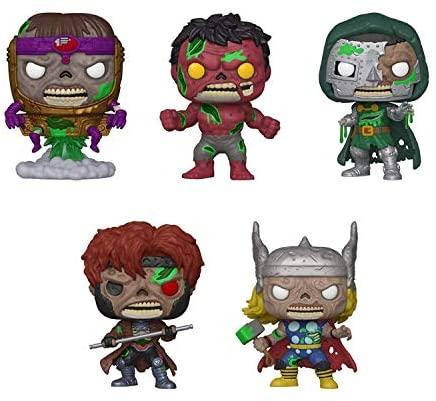 Funko Pop! Marvel Zombies Set of 5: Thor, Gambit, Dr Doom, Red Hulk and MODOK