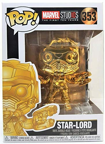 Funko Pop Movies: Guardians of the Galaxy - Gold Chrome Star-Lord Collectible Figure, Multicolor