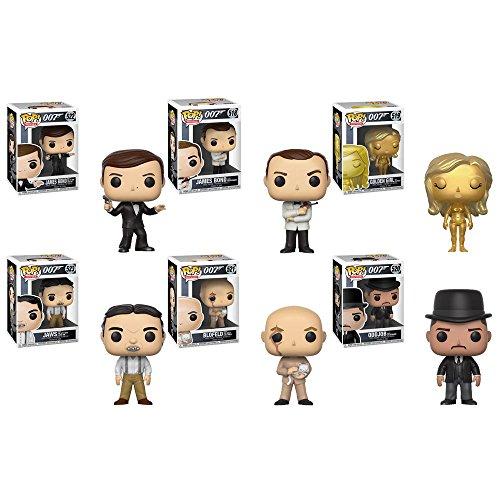 Funko Pop Movies James Bond Agent 007 - Roger Moore, Sean Connery, Jill Masterson, Blofeld, Oddjob, Jaws Vinyl Figures Set