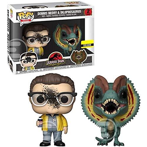 Funko Pop Movies: Jurassic Park - Dennis Nedry and Dilophosaurus Goo-Splattered Pop! Vinyl Figure 2-Pack - Entertainment Earth Exclusive