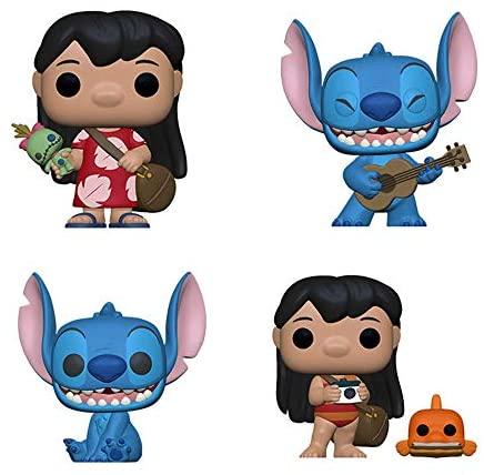 Funko Pop! Movies Lilo and Stitch Set of 4: Lilo w/Scrump, Stitch w/Ukelele, Smiling Seated Stitch and Lilo w/Pudge