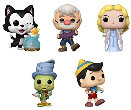 Funko Pop! Pinocchio Set of 5: School Bound Pinocchio, Street Jimmy, Blue Fairy, Gepetto and Figaro Kissing Cleo