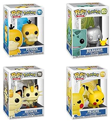 Funko Pop! Pokemon Set of 4: Psyduck, Meowth, Pikachu and Bulbasaur (Silver Metallic)