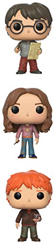 Funko Pop Series 4-Harry Potter w/Marauders Map, Hermione w/Time Turner, Ron Weasley with Scabbers Collectible Set