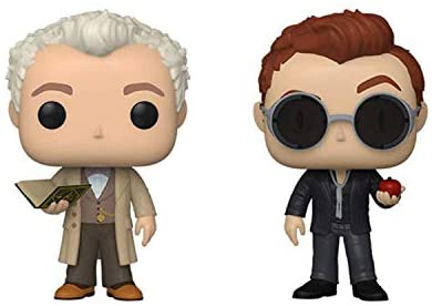 Funko Pop! Set of 2 - Good Omens: Aziraphale with Book and Crowley with Apple