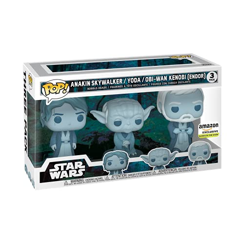 Funko Pop! Star Wars: Across The Galaxy - Force Ghost 3 Pack, Anakin, Yoda, OBI-Wan Kenobi, Multicolor (55624), Amazon Exclusive