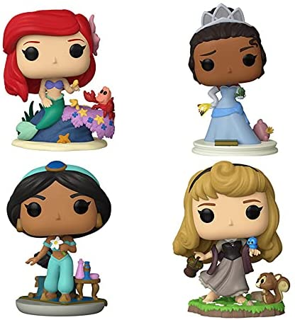 Funko Pop! Ultimate Princesses Set of 4: Aurora, Ariel, Jasmine and Tiana