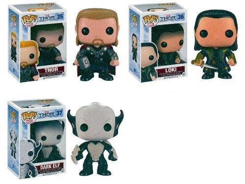 "Funko Thor 2 Movie POP Bobble 3.75"" Figure 3PC Set with Thor - Loki & Dark ELF"