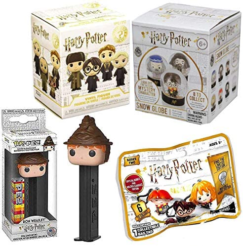 Globe Harry Potter Mystery Minis Figure Wizard Bundled with Bag Tag Blond Bag + Snow Character + Ron Weasley Pez Hat 4 Items