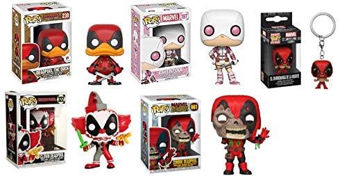 Goofball Mega Pack- Deadpool Funko Pop! 5 Pack: Clown Deadpool 322/ Gwenpool 197/ Zombie Deadpool 661/ Deadpool The Duck Exclusive 230/ Pocket Pop! El Chimichanga De La Muerte