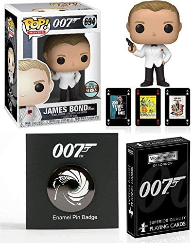 Gunbarrel James Bond Collection Pop! Figure Spectre Agent 007 Bundled with Exclusive Specialty Series + Pin Badge Symbol Gun Barrel Logo + Movie Poster Playing Cards 3 Items