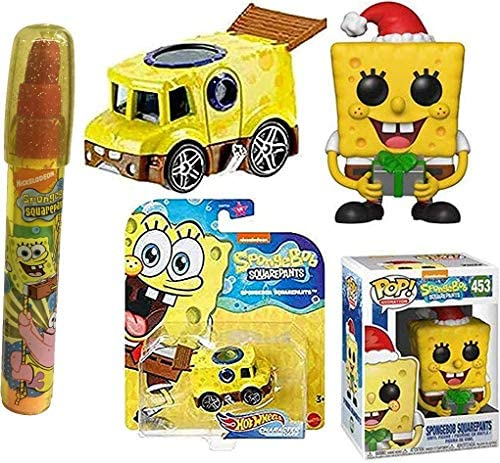 Hat's Off Bob Spongebob Pop! Figure Holiday Bundled with Character Action Car + Stackable Eraser Tube Underwater Fun 3 Items